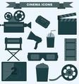 Cinema black and white icon set vector image