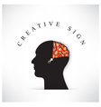 Creative silhouette head with opening the brain by vector image