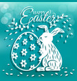 cute bunny and egg for easter day greeting card vector image vector image