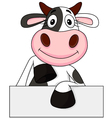 Cute Cow with blank sign vector image vector image
