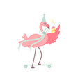 cute flamingo wearing party hat skateboarding vector image vector image
