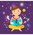 Cute girl reading book about magic vector image vector image