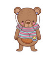 cute little bear with shirt and walkman vector image