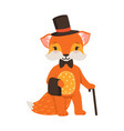 cute orange fox gentleman character funny cartoon vector image vector image