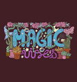 detailed colourful magic vibes lettering vector image vector image