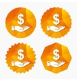 Dollar and hand sign Palm holds money USD vector image vector image