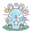 doodle cute mouse animal with hearts and stars vector image vector image