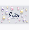 elegant 3d eggs happy easter festival background vector image
