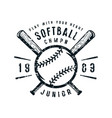 emblem of softball junior team vector image vector image