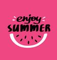 enjoy summer lettering card vector image vector image