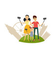flat selfie on vacation family concept vector image vector image