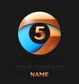 golden number five logo in golden-blue circle vector image vector image