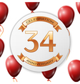 Golden number thirty four years anniversary vector image vector image