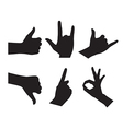 Hand Set Silhouettes on the white background vector image vector image