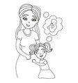 happy kid girl hugging pregnant mothers belly vector image vector image