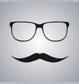 hipster glasses and mustache vector image vector image