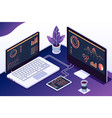 isometric 3d computers with statistics graphs vector image vector image