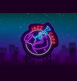 jazz cafe logo in neon style neon sign symbol vector image