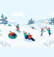 kids riding sledding slide snow landscape winter vector image vector image
