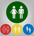 male and female sign 4 white styles of vector image vector image