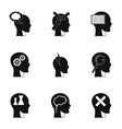 man head with thoughts icons set simple style vector image