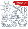 marine set sailing and ship voyage objects vector image vector image