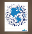 Modern world globe with application icon on note vector image vector image