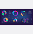 neon gradient pie chart infographic collection vector image