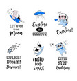 outer space concept - cute animal astronauts vector image vector image