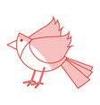 red shading silhouette of cartoon bird vector image