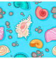 Seamless blue pattern with shells vector image vector image