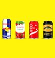 set drinking soda water in aluminium can vector image vector image