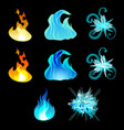 set templates symbols fire water wind and vector image