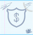 shield and dollar line sketch icon isolated on vector image