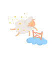 sleepy sheep surrounded by stars flying through vector image vector image