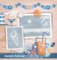 Summer scrapbooking photo album vector image