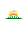 sun and farm harvest label icon vector image