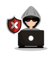 Technology laptop hacker warning design graphic vector image