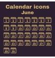 The calendar icon June symbol Flat vector image vector image