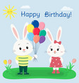 two white rabbits in clothes in a summer glade vector image