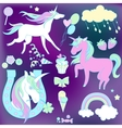 White and pink unicorns with sweets on violet vector image vector image