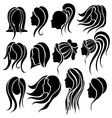 Woman face and hair icon set vector image vector image