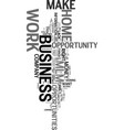 work at home mlm business opportunity text word vector image vector image