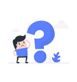 young man thinking with question mark vector image