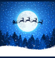 christmas background with santa and deers flying vector image