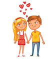 loving couple holding hands vector image