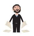Unshaven Businessman shouting in black suit with vector image