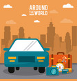 around the world car vehicle baggage clock credit vector image