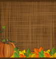 autumn background with pumpkin and fallen leaves vector image vector image