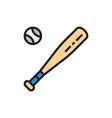 baseball bat and ball flat color line icon vector image